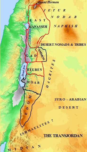 A map of the Transjordan nations including the East Half Tribe of Manasseh.