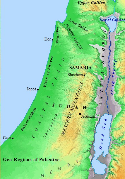 A map of the Palestine and its diverse geography.
