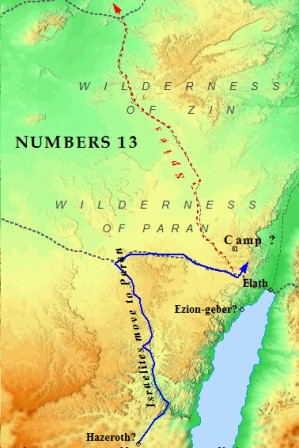 A map of Moses & the Israelites on their march to Canaan.