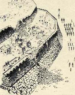An artist's drawing of the walls of Jericho crumbling before Israel.