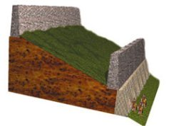 A computerized cross-section diagram of the walls of Jericho.