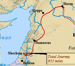 A map of the second leg of Abraham's journey - from Haran to Shechem in the Promised Land.