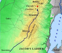 A map of where Jacob had his vision of the Heavenly Ladder.