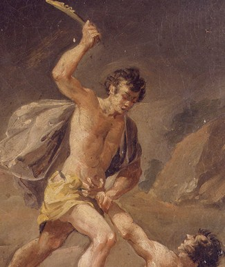 Picture of Cain and Able as Cain Kills His Brother