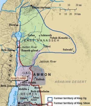 A map of the kingdoms of Og and Sihon. The tribe of Manasseh would settle in Og's kingdom.