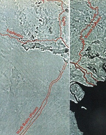 Satellite Picture Outlining the Four Rivers of the Garden of Eden