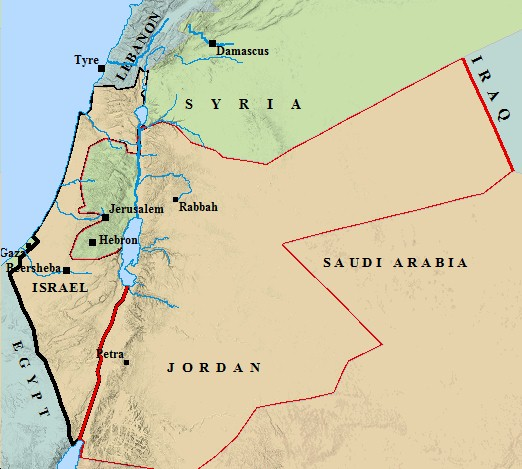 A map of Palestine & modern day boundaries & borders.