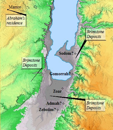 A map of possible locations for Sodom and Gomorrah.