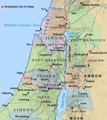 A map of the Tribe of Asher and the 12 Tribes of Israel land allotments.