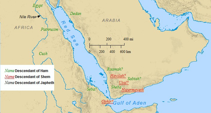 A map of the sons of Noah settlement in Arabia & Africa.