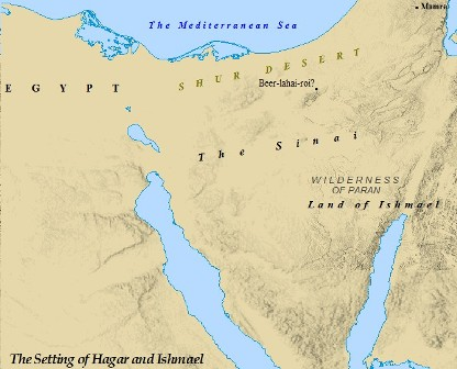 The Biblical setting of Hagar and Ishmael's journey to Egypt.