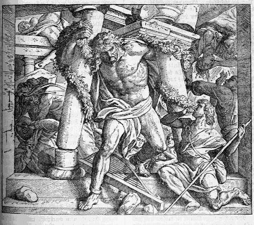 A picture of Samson bringing down the Philistine temple of Dagan.