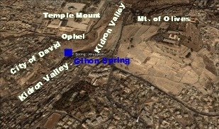 A satellite image of the Temple Mount & Mt of Olives