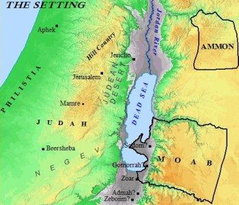 The Biblical setting of Sodom and Gomorrah.