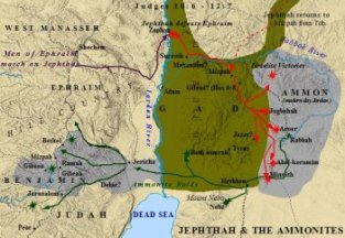 A map of Jephthah's battle with the Ammonites.