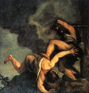 Titian Paints Cain Striking Down His Brother Able