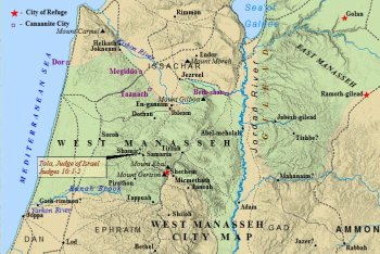 A map of the cities in the tribe of Manasseh west of the Jordan River.
