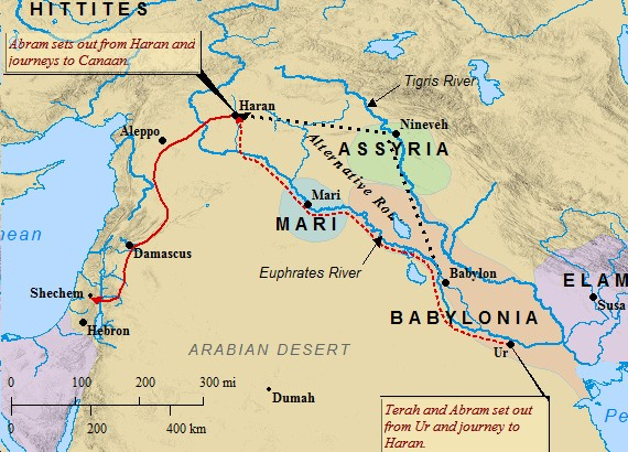 A map of the likely routes taken by Abraham and Terah on their journey from Ur.