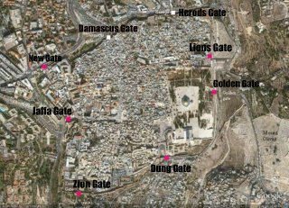 An overhead satellite image of the gate of Jerusalem surrounding the Temple and Old City.