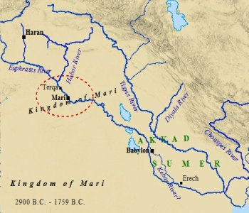 A map of the Kingdom of Mari in ancient Mesopotamia.