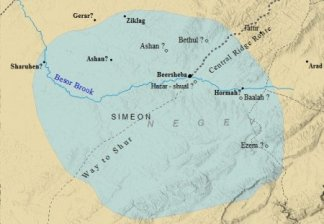 A map of the cities within the tribe of Simeon.