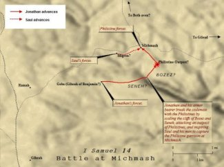 A Map of the Battle at Michmash