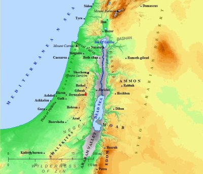 A map of Israel during the time of Jesus.
