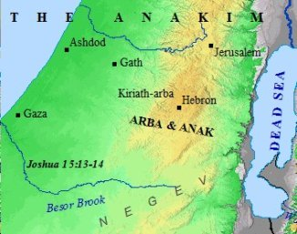 The land of the Anakim in ancient Canaan.