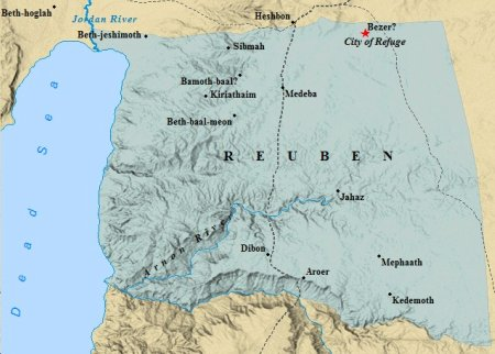 A map of the tribe of Reuben.