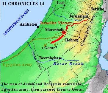 The Benjamites battle the Egyptians at Mareshah in II Chronicles 14