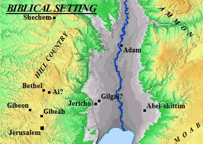 A map of Jericho and its neighboring cities.