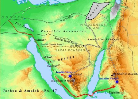 A map of the battle between Amalek & Israel while Israel wandered in the wilderness under Moses.