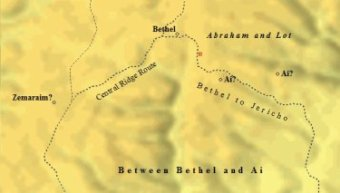 Abraham camped between Bethel and Ai.