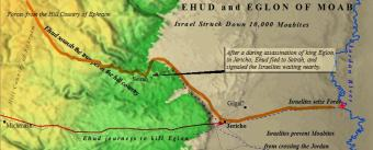Ehud's dramatic assassination of King Eglon in  Jericho.