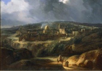 Augustade Forlin painted ancient Jerusalem (1825) nestled in the mountains