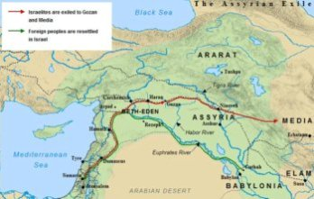 A map of the Assyrian Exile of the Northern Kingdom of Israel in 721 BC.