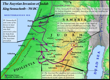 A map detailing the Assyrian invasion of Israel & Judah.