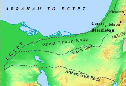 Abraham journeys from Canaan to Egypt