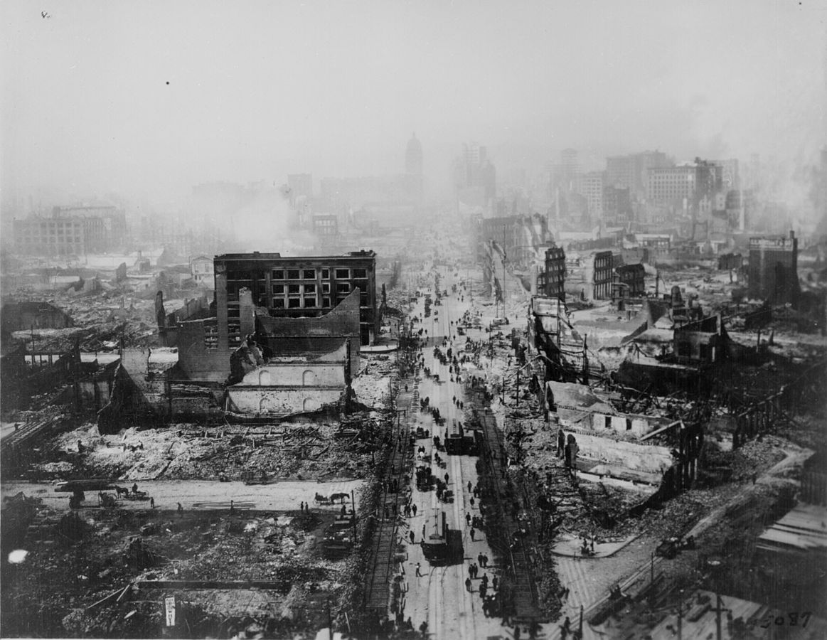 The devastation of the Great San Francisco earthquake of 1906.