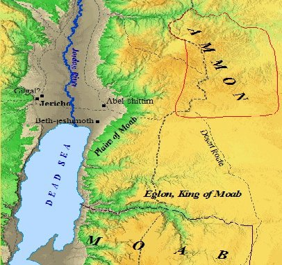 A map of King Eglon and the kingdom of Ammon