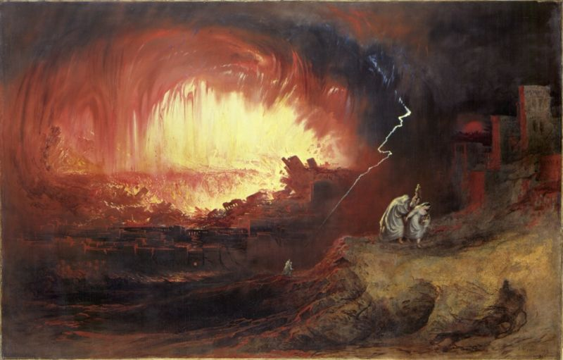 John Martin depicts Lot & family fleeing Sodom and Gomorrah in this dramatic painting.