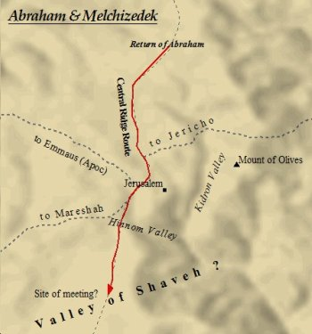 Melchizedek and Abraham meet in the Valley of Shaveh.