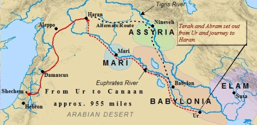 An Old Testament map of Abraham's route to Canaan.