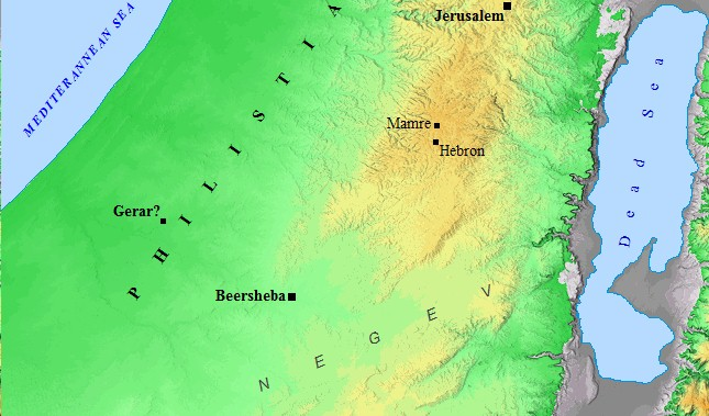 An Old Testament map of the Negev region.