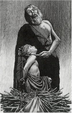 A grieved Abraham holds a knife to Isaac's throat