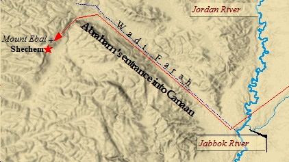 Abraham entered Canaan via the Wadi Ferah. He first stopped in Shechem.