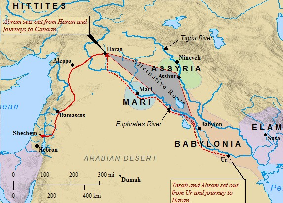 Abraham's journey from Ur to Canaan, via Haran in northern Mesopotamia.