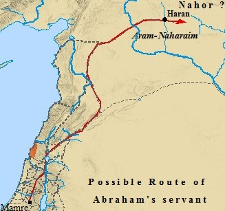 Map of the possible route taken by Abraham's servant to find Jacob a wife.