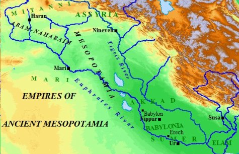A map of ancient Mesopotamian and the various empires of the south.
