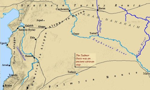 A map of Aram-Naharaim. Abraham stopped here on his journey to Canaan from Ur.